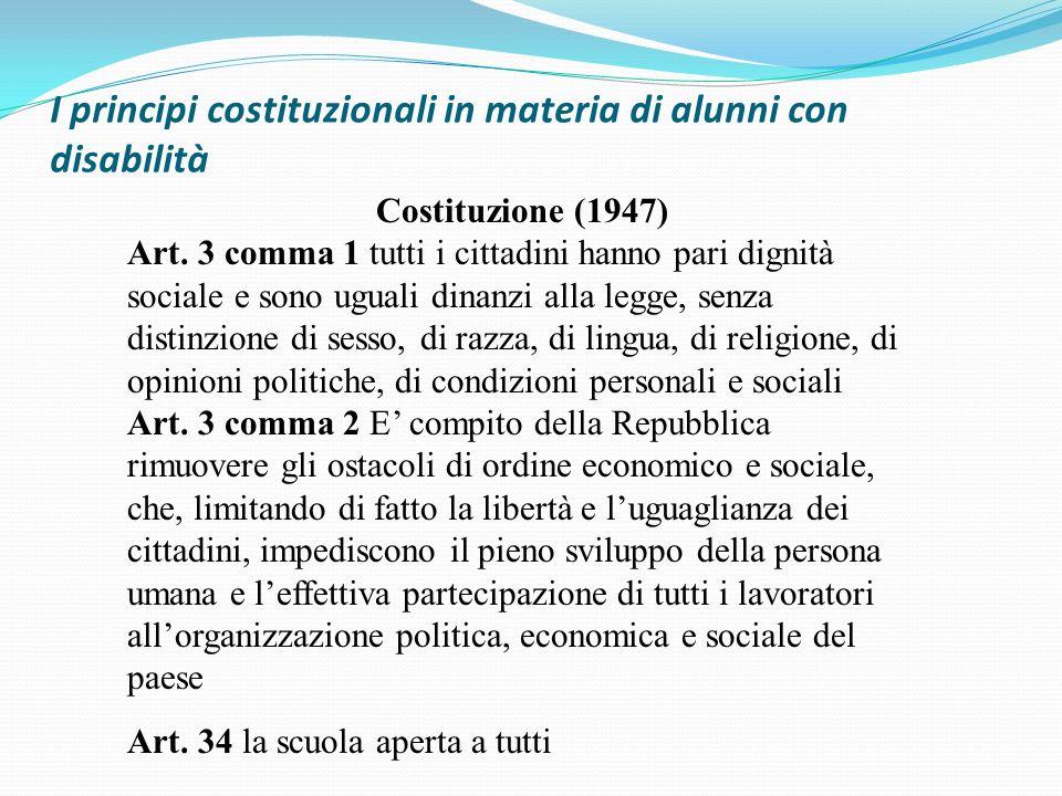 I principi costituzionali in materia di alunni con disabilità Costituzione (1947) Art. 3 comma 1 tutti i cittadini hanno pari dignità sociale e sono u