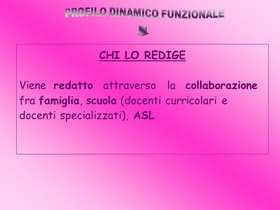 CHI LO REDIGE Viene redatto attraverso la collaborazione fra famiglia, scuola (docenti curricolari e docenti specializzati), ASL