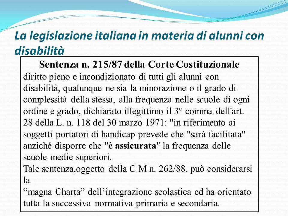 La legislazione italiana in materia di alunni con disabilità Sentenza n. 215/87 della Corte Costituzionale diritto pieno e incondizionato di tutti gli