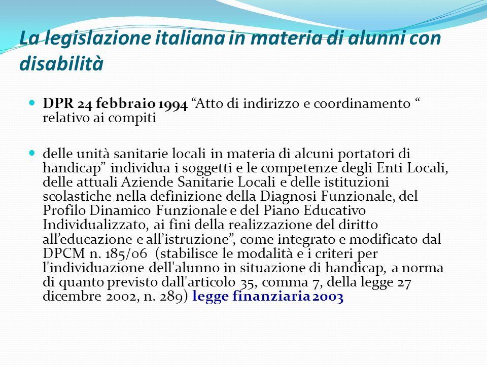 La legislazione italiana in materia di alunni con disabilità DPR 24 febbraio 1994 Atto di indirizzo e coordinamento relativo ai compiti delle unità sa