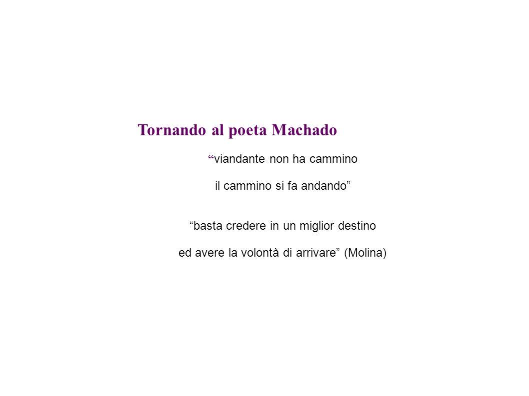 Tornando al poeta Machado viandante non ha cammino il cammino si fa andando basta credere in un miglior destino ed avere la volontà di arrivare (Molin