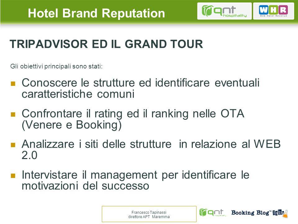 TRIPADVISOR ED IL GRAND TOUR Gli obiettivi principali sono stati: Conoscere le strutture ed identificare eventuali caratteristiche comuni Confrontare