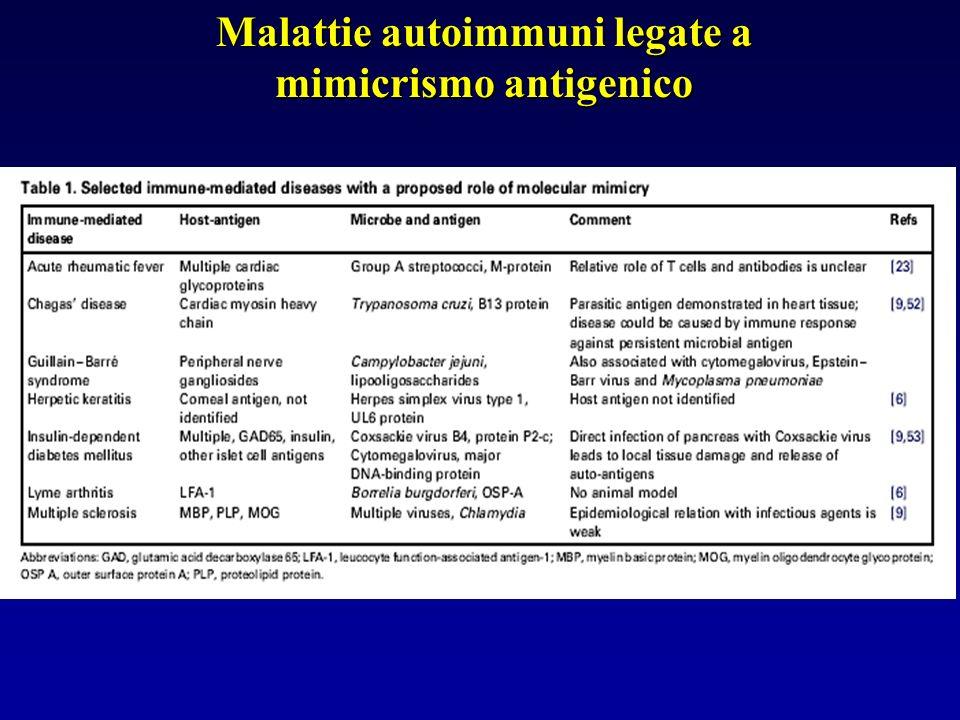 Malattie autoimmuni legate a mimicrismo antigenico