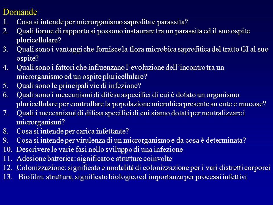 Domande 1.Cosa si intende per microrganismo saprofita e parassita? 2.Quali forme di rapporto si possono instaurare tra un parassita ed il suo ospite p