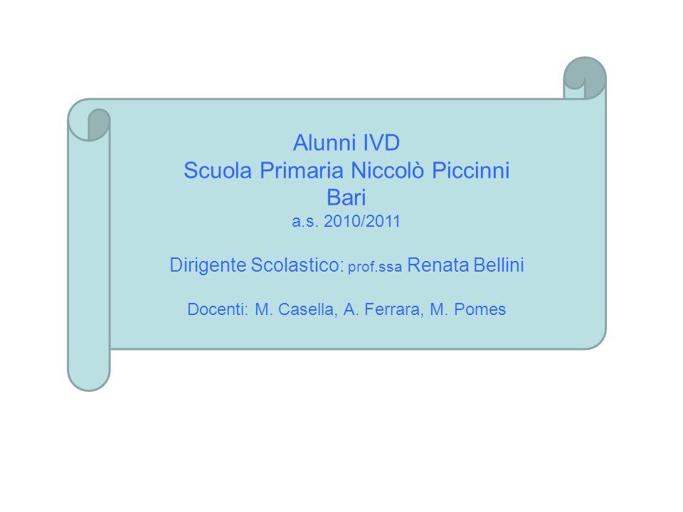 Alunni IVD Scuola Primaria Niccolò Piccinni Bari a.s. 2010/2011 Dirigente Scolastico: prof.ssa Renata Bellini Docenti: M. Casella, A. Ferrara, M. Pome