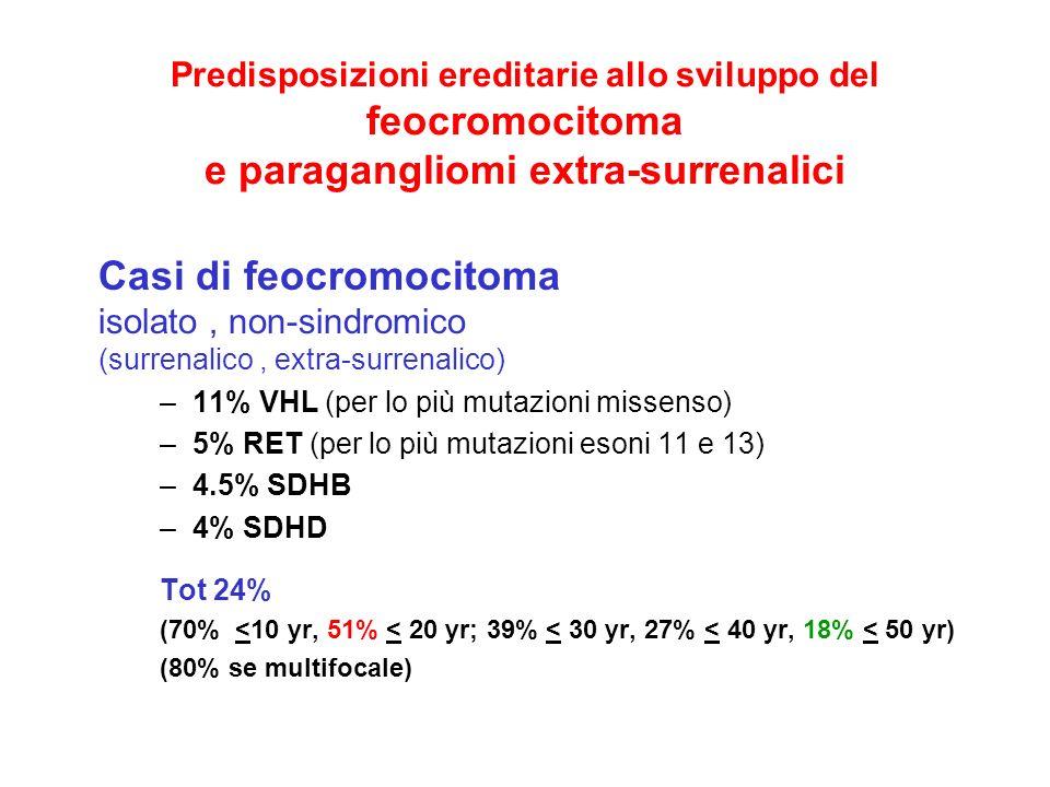 Predisposizioni ereditarie allo sviluppo del feocromocitoma e paragangliomi extra-surrenalici Casi di feocromocitoma isolato, non-sindromico (surrenal