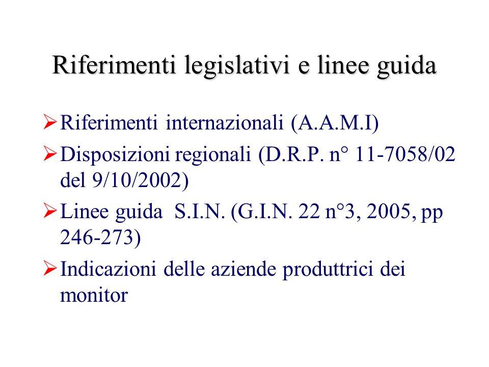Riferimenti legislativi e linee guida Riferimenti internazionali (A.A.M.I) Disposizioni regionali (D.R.P.