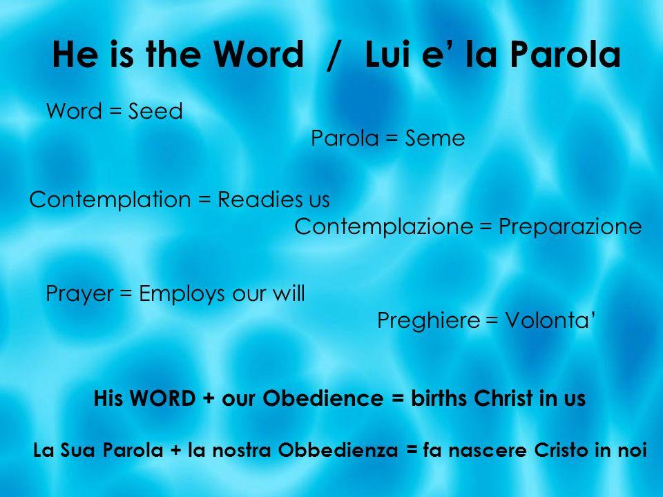 He is the Word / Lui e la Parola Word = Seed Parola = Seme Contemplation = Readies us Contemplazione = Preparazione Prayer = Employs our will Preghier