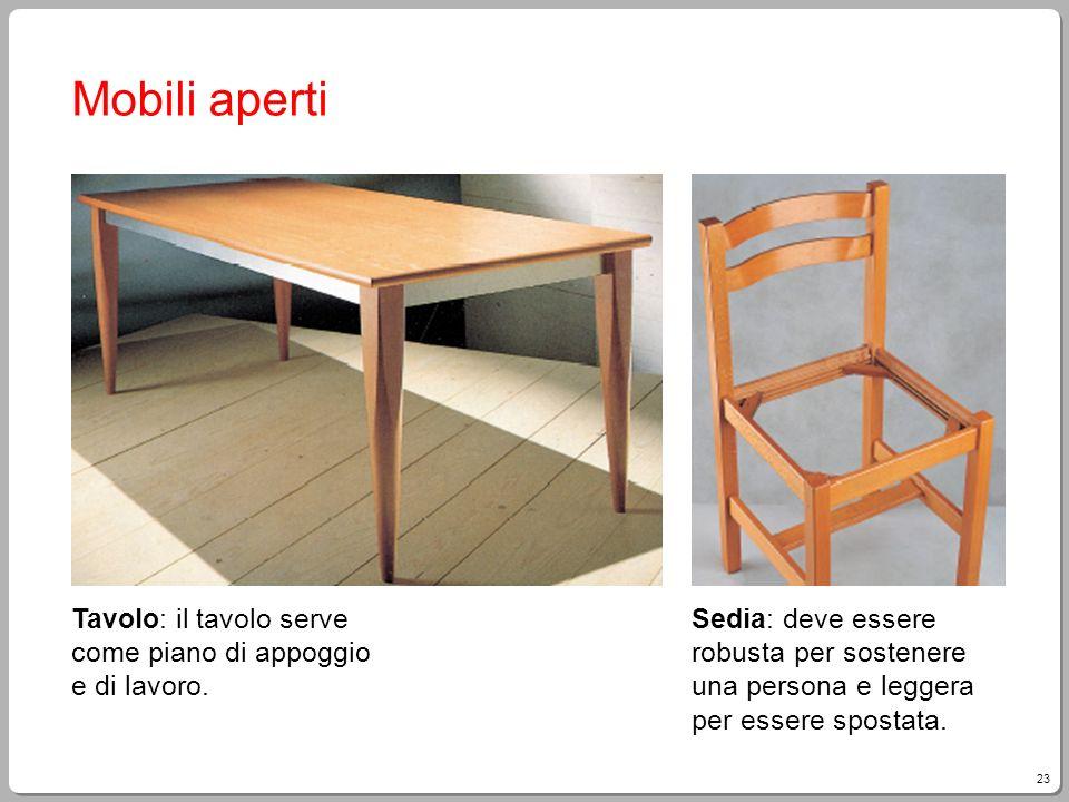 23 Mobili aperti Tavolo: il tavolo serve come piano di appoggio e di lavoro. Sedia: deve essere robusta per sostenere una persona e leggera per essere