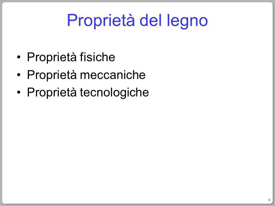 9 Proprietà del legno Proprietà fisiche Proprietà meccaniche Proprietà tecnologiche
