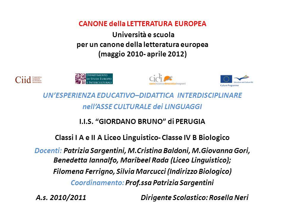 SCHEDA DI PROGRAMMAZIONE Modulo per un Canone della letteratura europea a.s.