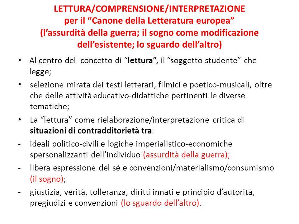 LETTURA/COMPRENSIONE/INTERPRETAZIONE per il Canone della Letteratura europea (lassurdità della guerra; il sogno come modificazione dellesistente; lo s