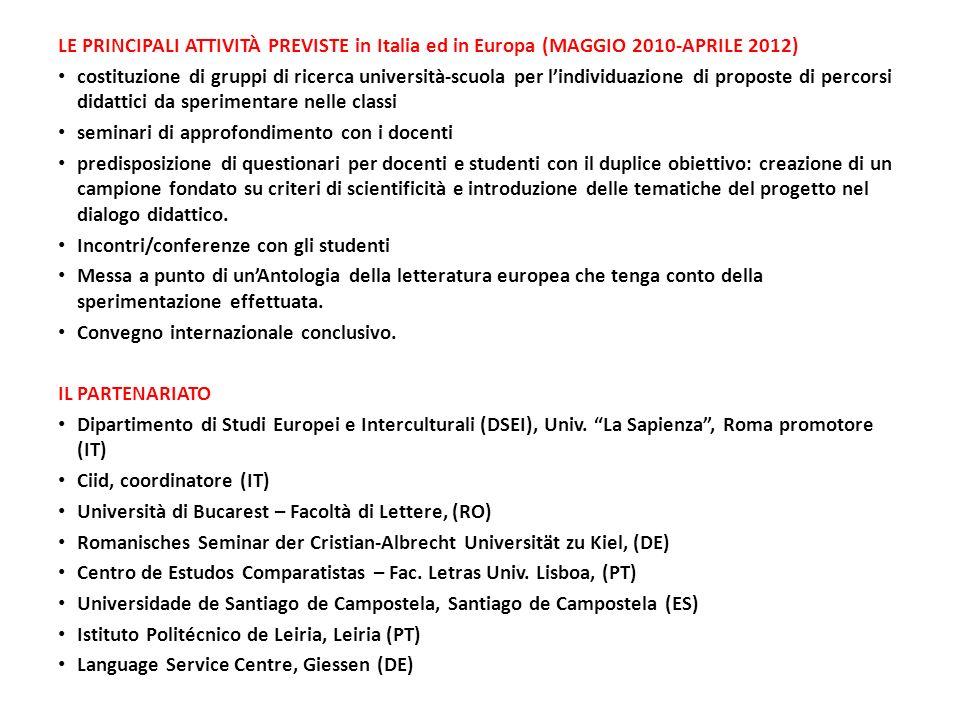 LE PRINCIPALI ATTIVITÀ PREVISTE in Italia ed in Europa (MAGGIO 2010-APRILE 2012) costituzione di gruppi di ricerca università-scuola per lindividuazio