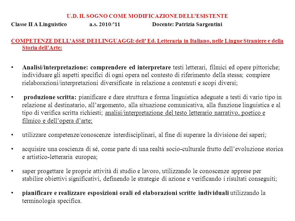 U.D. IL SOGNO COME MODIFICAZIONE DELLESISTENTE Classe II A Linguistico a.s. 2010/11 Docente: Patrizia Sargentini COMPETENZE DELLASSE DEI LINGUAGGI: de