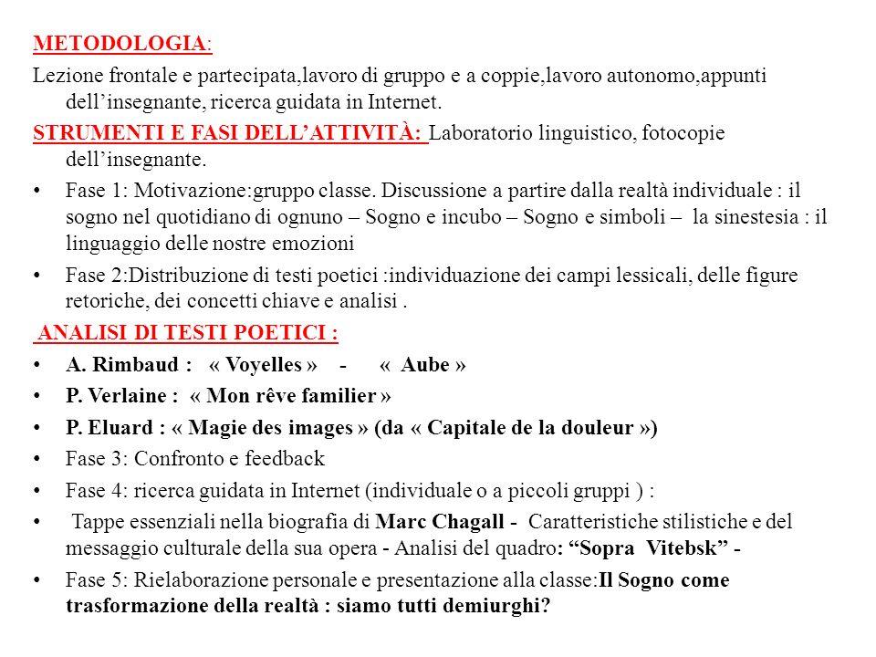 METODOLOGIA: Lezione frontale e partecipata,lavoro di gruppo e a coppie,lavoro autonomo,appunti dellinsegnante, ricerca guidata in Internet. STRUMENTI