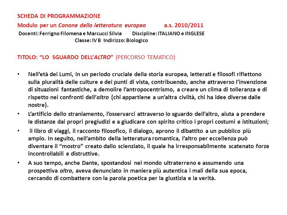 SCHEDA DI PROGRAMMAZIONE Modulo per un Canone della letteratura europea a.s. 2010/2011 Docenti: Ferrigno Filomena e Marcucci SilviaDiscipline: ITALIAN