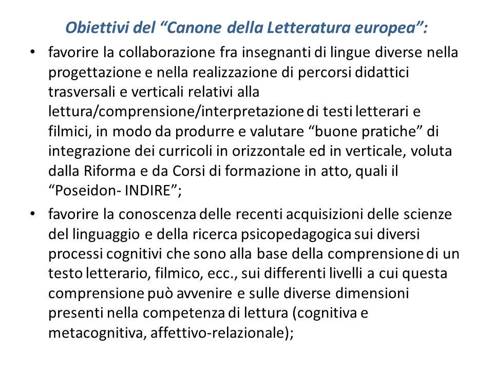 Obiettivi del Canone della Letteratura europea: favorire la collaborazione fra insegnanti di lingue diverse nella progettazione e nella realizzazione