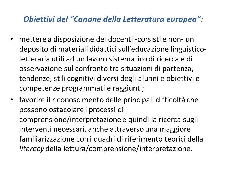 Obiettivi del Canone della Letteratura europea: mettere a disposizione dei docenti -corsisti e non- un deposito di materiali didattici sulleducazione