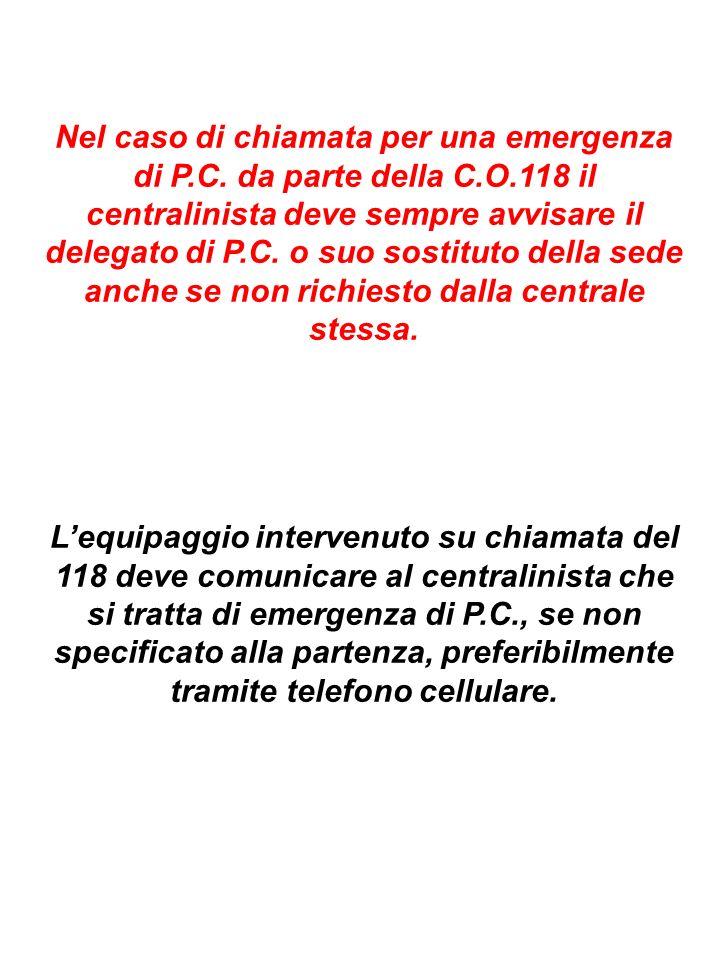 Nel caso di chiamata per una emergenza di P.C. da parte della C.O.118 il centralinista deve sempre avvisare il delegato di P.C. o suo sostituto della
