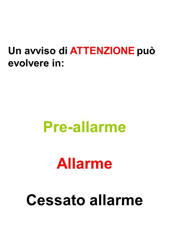 Un avviso di ATTENZIONE può evolvere in: Pre-allarme Allarme Cessato allarme