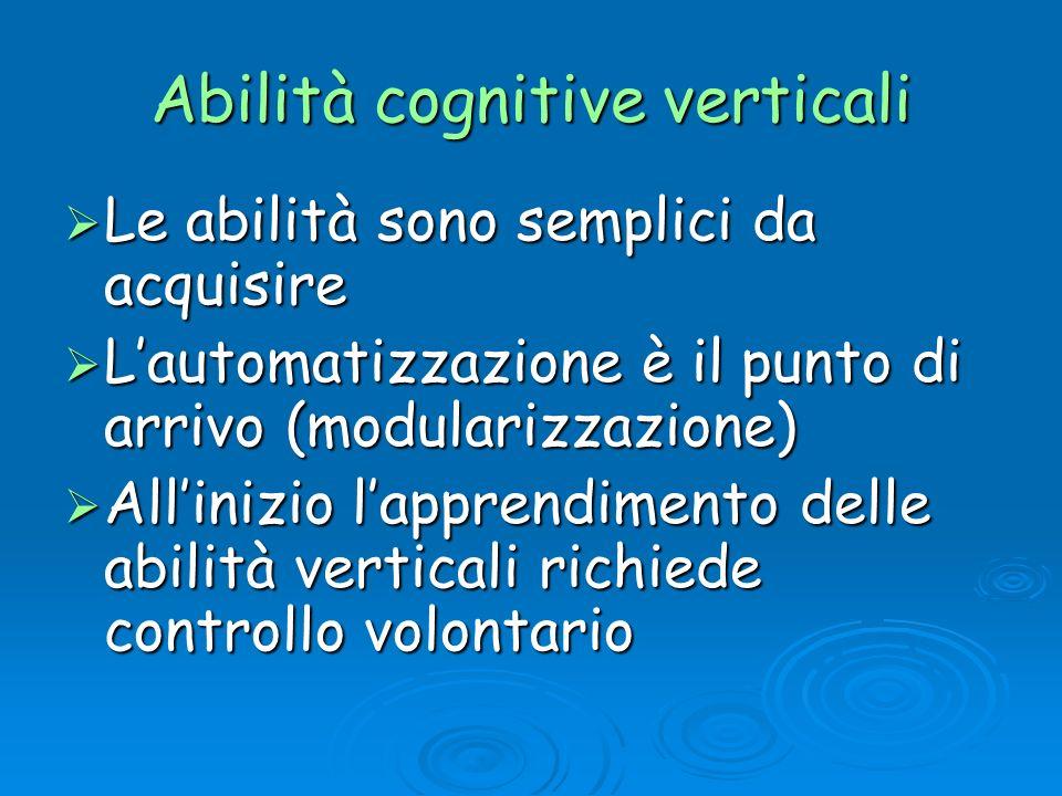 Abilità cognitive verticali Le abilità sono semplici da acquisire Le abilità sono semplici da acquisire Lautomatizzazione è il punto di arrivo (modula