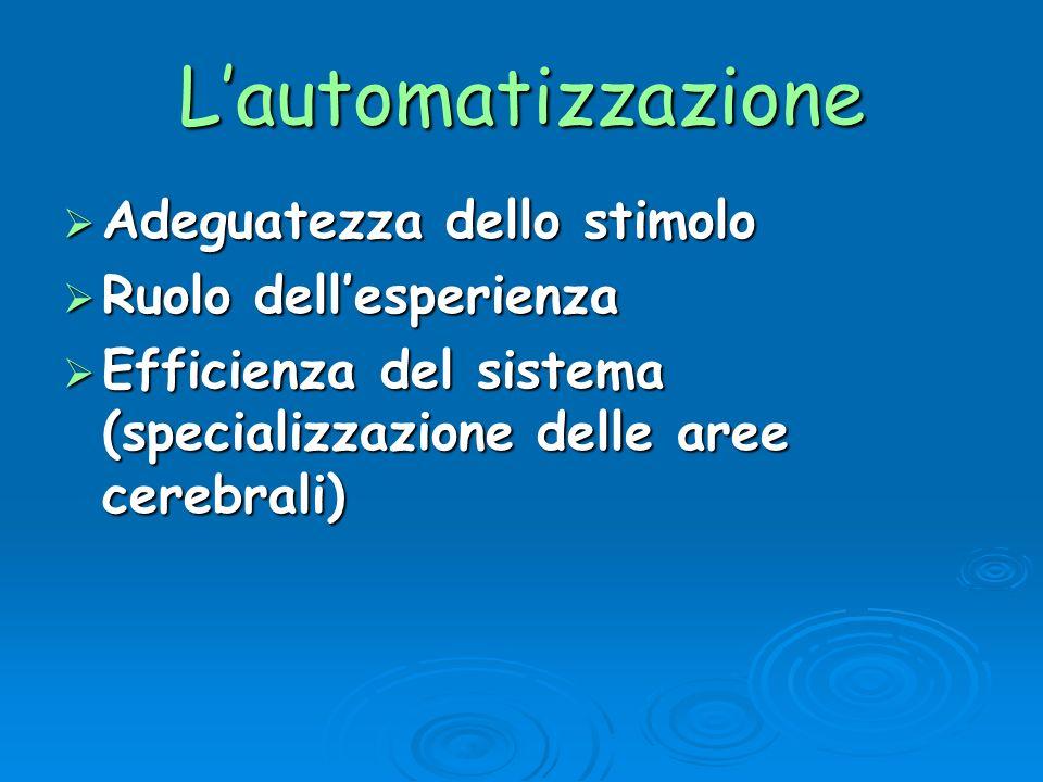 Lautomatizzazione Adeguatezza dello stimolo Adeguatezza dello stimolo Ruolo dellesperienza Ruolo dellesperienza Efficienza del sistema (specializzazio