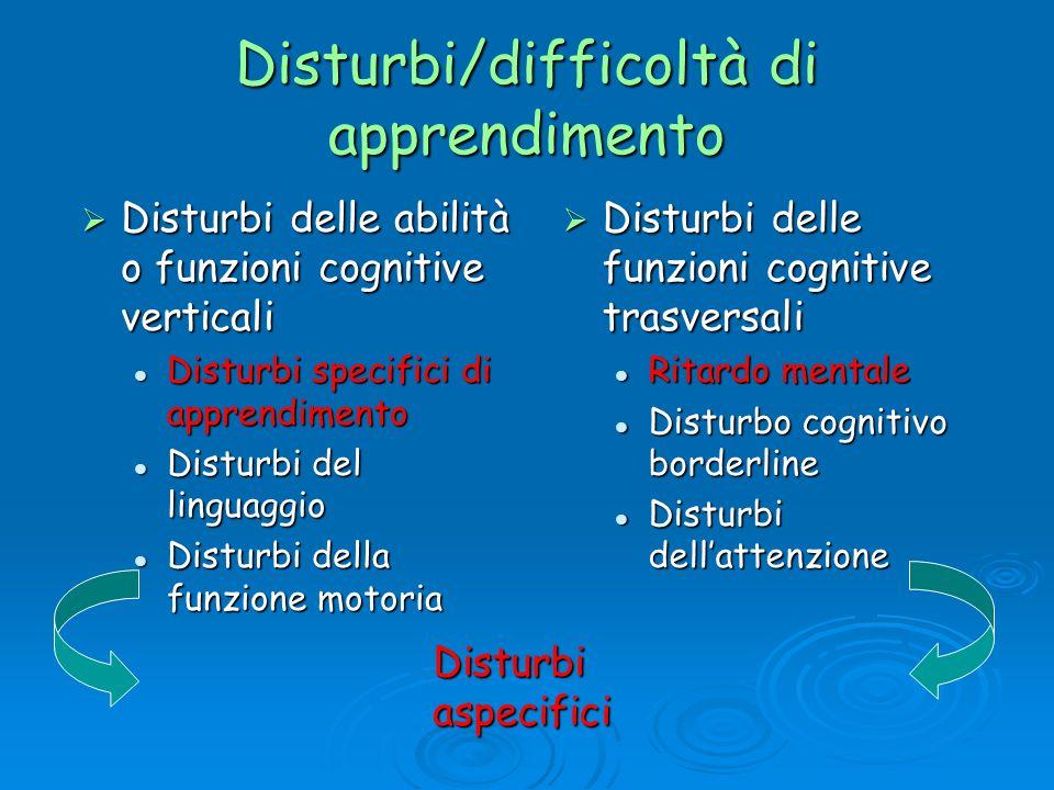 Disturbi/difficoltà di apprendimento Disturbi delle abilità o funzioni cognitive verticali Disturbi delle abilità o funzioni cognitive verticali Distu