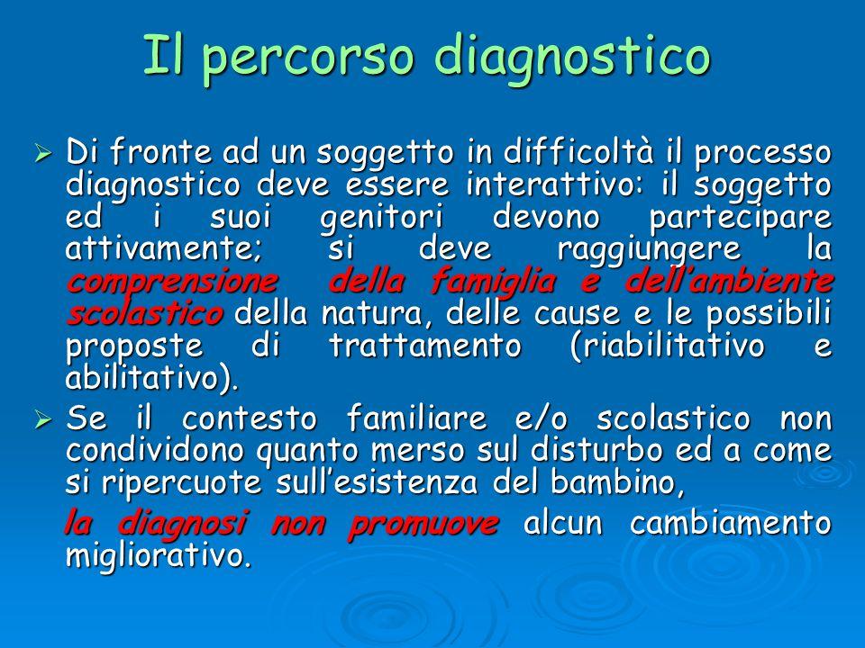 Il percorso diagnostico Di fronte ad un soggetto in difficoltà il processo diagnostico deve essere interattivo: il soggetto ed i suoi genitori devono