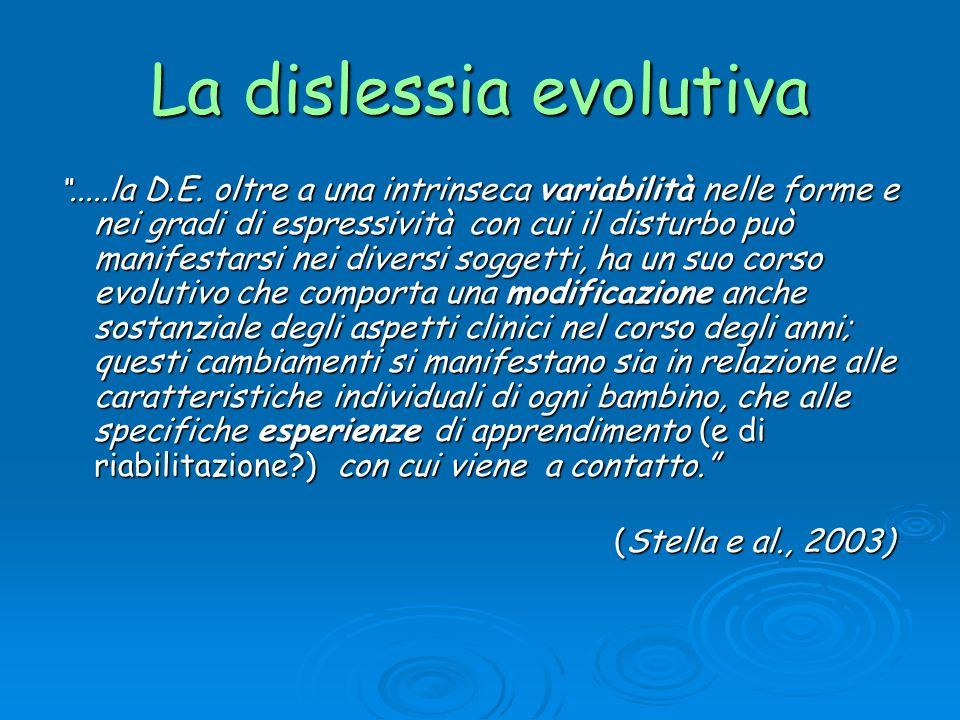 La dislessia evolutiva.....la D.E. oltre a una intrinseca variabilità nelle forme e nei gradi di espressività con cui il disturbo può manifestarsi nei