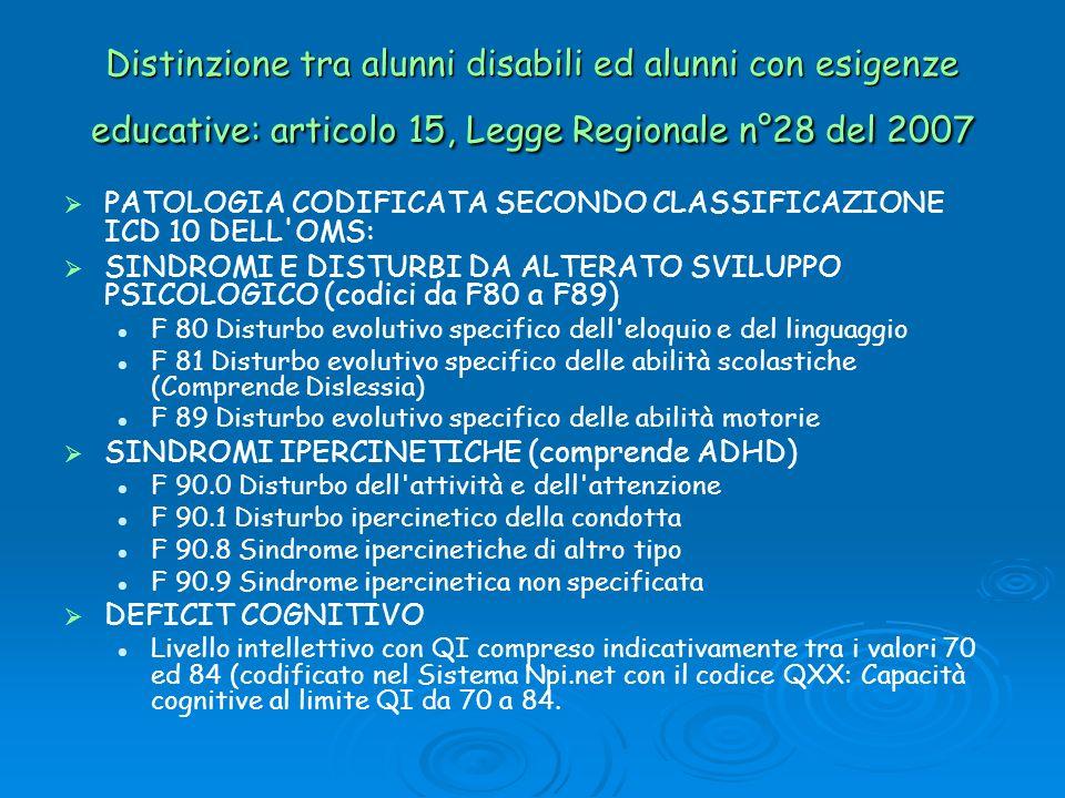 Distinzione tra alunni disabili ed alunni con esigenze educative: articolo 15, Legge Regionale n°28 del 2007 PATOLOGIA CODIFICATA SECONDO CLASSIFICAZI