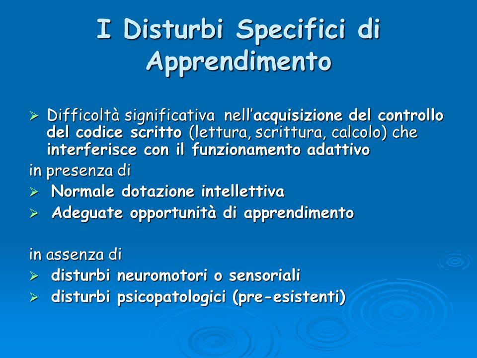 Epidemiologia dei DSA in Italia – Difficoltà scolastiche: 15-20% – Disturbi specifici dell apprendimento: 4 - 5% della popolazione scolastica 4 - 5% della popolazione scolastica – (in Italia: oltre 1.500.000 persone sono dislessiche)