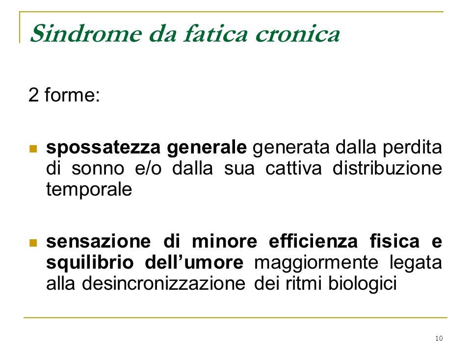 10 Sindrome da fatica cronica 2 forme: spossatezza generale generata dalla perdita di sonno e/o dalla sua cattiva distribuzione temporale sensazione d