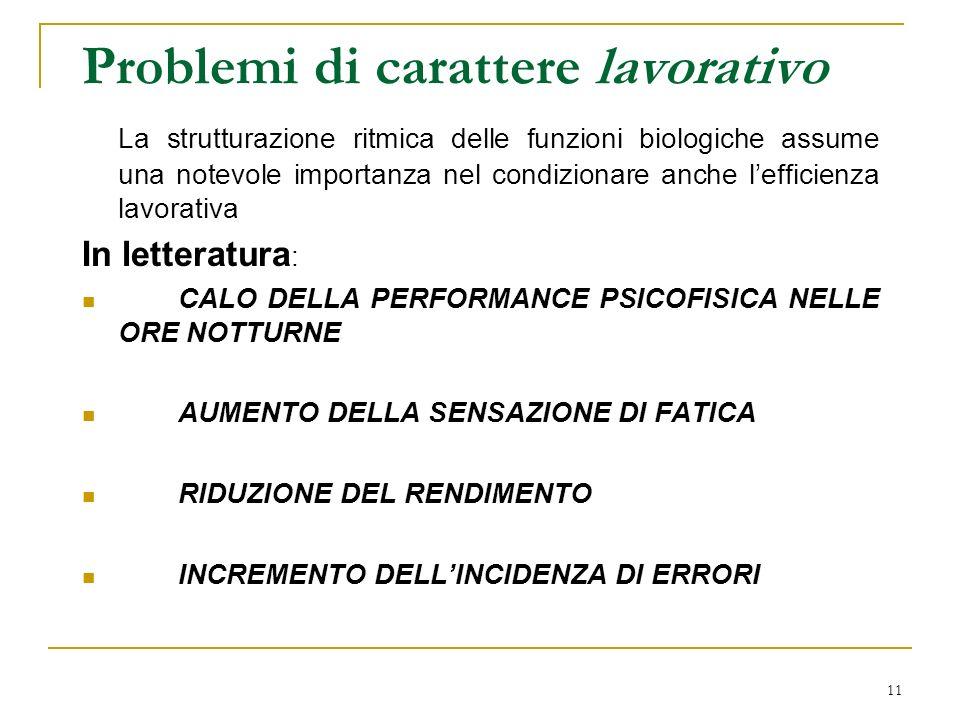 11 Problemi di carattere lavorativo La strutturazione ritmica delle funzioni biologiche assume una notevole importanza nel condizionare anche lefficie