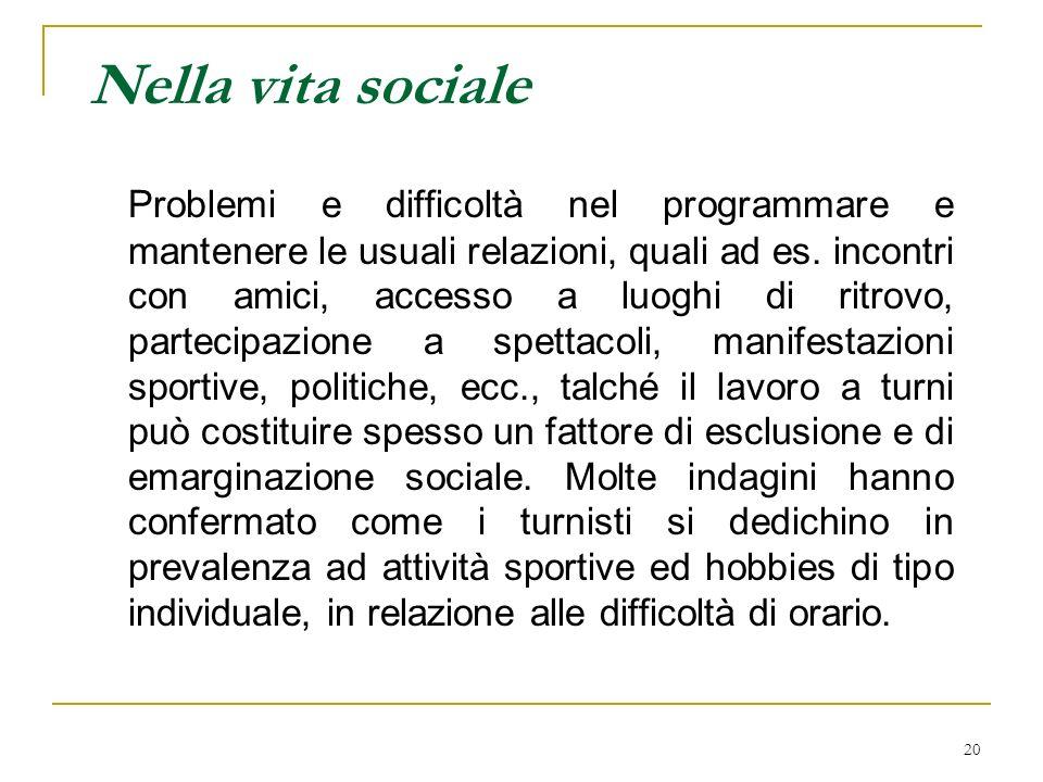 20 Nella vita sociale Problemi e difficoltà nel programmare e mantenere le usuali relazioni, quali ad es.