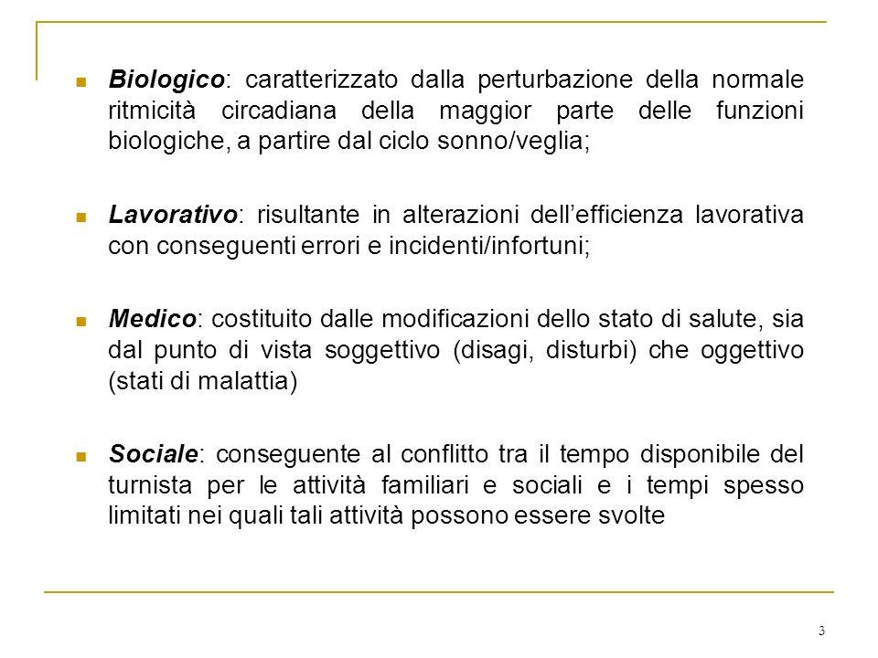3 Biologico: caratterizzato dalla perturbazione della normale ritmicità circadiana della maggior parte delle funzioni biologiche, a partire dal ciclo