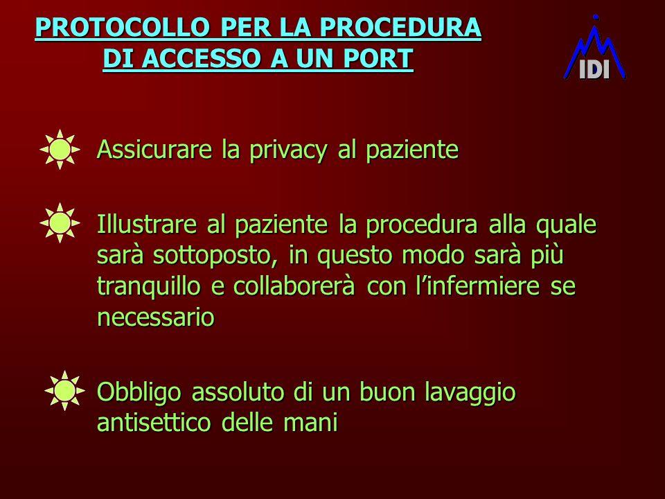 PROTOCOLLO PER LA PROCEDURA DI ACCESSO A UN PORT Assicurare la privacy al paziente Assicurare la privacy al paziente Illustrare al paziente la procedu