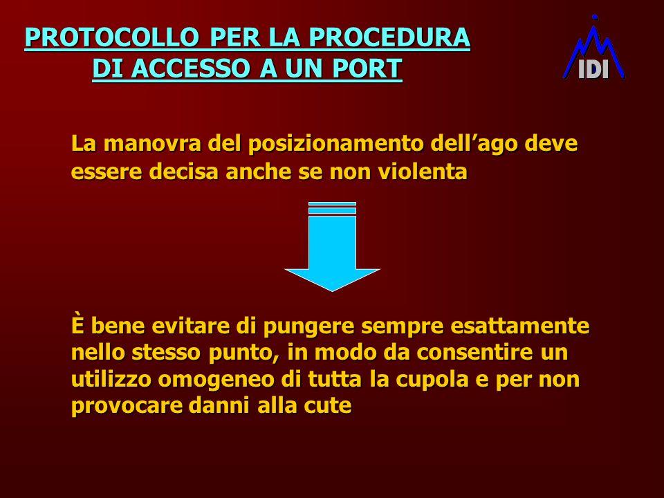 PROTOCOLLO PER LA PROCEDURA DI ACCESSO A UN PORT La manovra del posizionamento dellago deve essere decisa anche se non violenta È bene evitare di pung