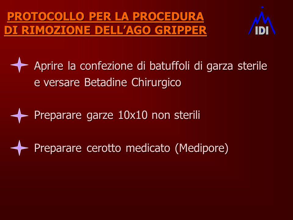 PROTOCOLLO PER LA PROCEDURA DI RIMOZIONE DELLAGO GRIPPER Aprire la confezione di batuffoli di garza sterile e versare Betadine Chirurgico Preparare ga