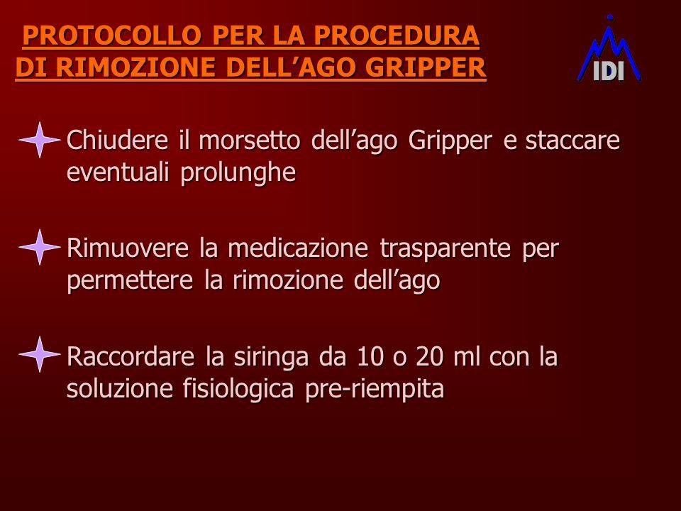 PROTOCOLLO PER LA PROCEDURA DI RIMOZIONE DELLAGO GRIPPER Chiudere il morsetto dellago Gripper e staccare eventuali prolunghe Rimuovere la medicazione