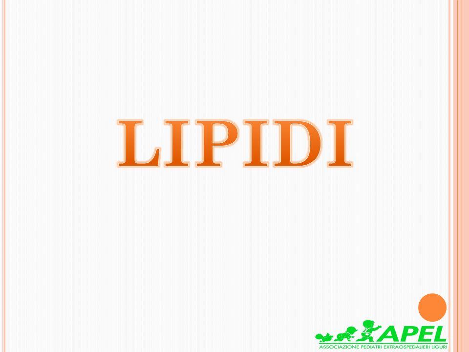 I lipidi svolgono funzioni fondamentali Sono presenti nella maggioranza dei gruppi alimentari e i cibi che li contengono apportano: -Acidi grassi saturi che hanno un ruolo energetico -Acidi grassi insaturi o essenziali che hanno un ruolo strutturale e metabolico (Omega 3,Omega 6, Omega 9)