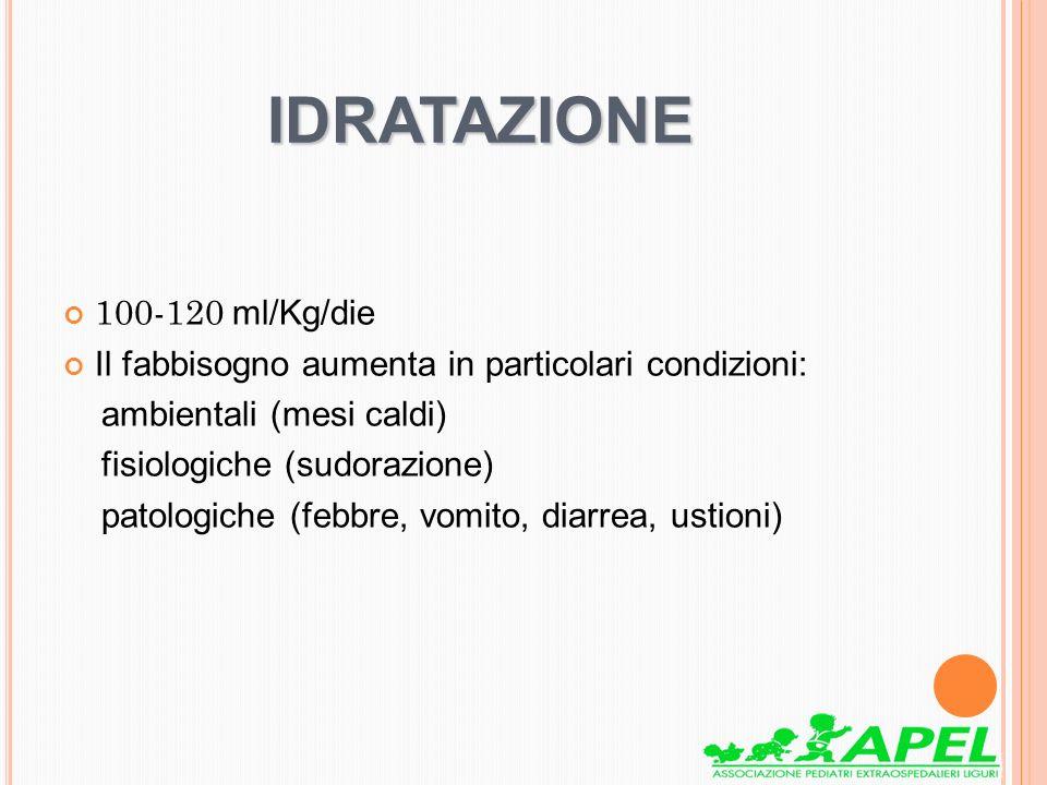 IDRATAZIONE 100-120 ml/Kg/die Il fabbisogno aumenta in particolari condizioni: ambientali (mesi caldi) fisiologiche (sudorazione) patologiche (febbre,