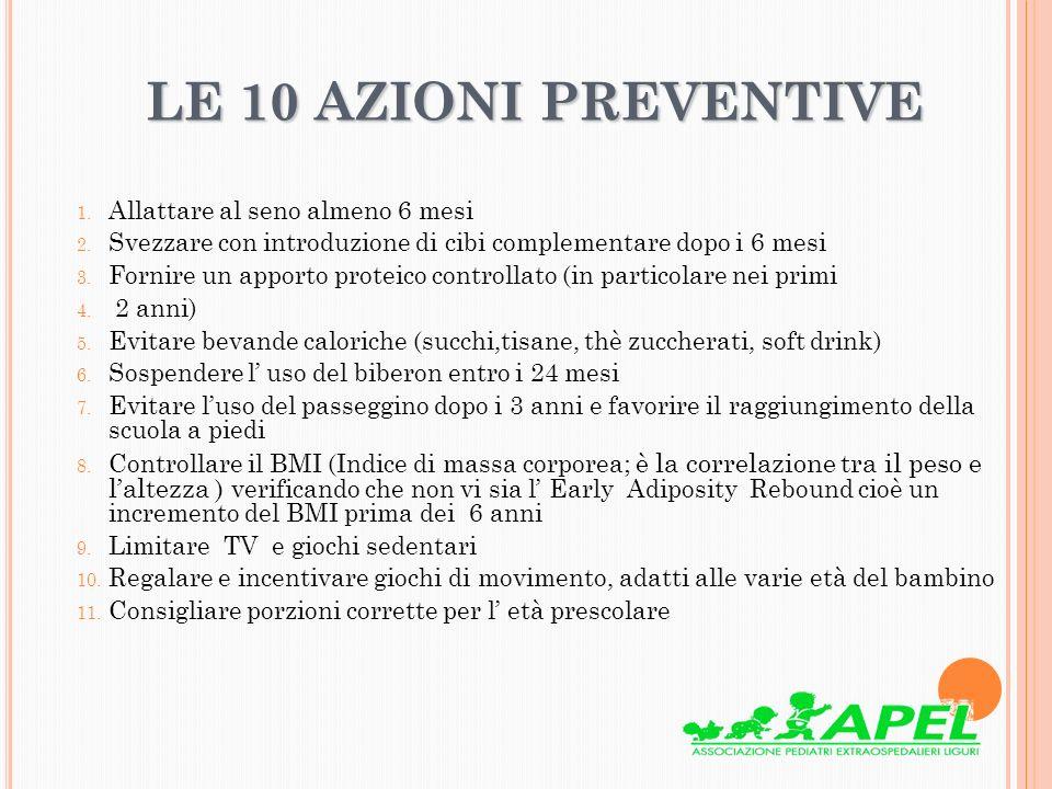 LE 10 AZIONI PREVENTIVE LE 10 AZIONI PREVENTIVE 1. Allattare al seno almeno 6 mesi 2. Svezzare con introduzione di cibi complementare dopo i 6 mesi 3.