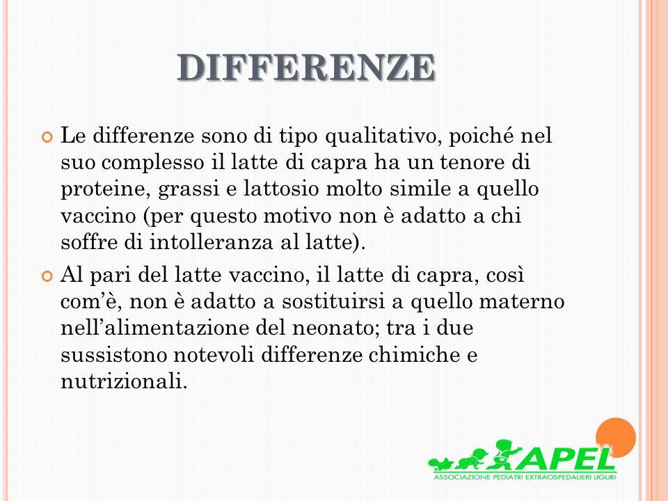 DIFFERENZE Le differenze sono di tipo qualitativo, poiché nel suo complesso il latte di capra ha un tenore di proteine, grassi e lattosio molto simile