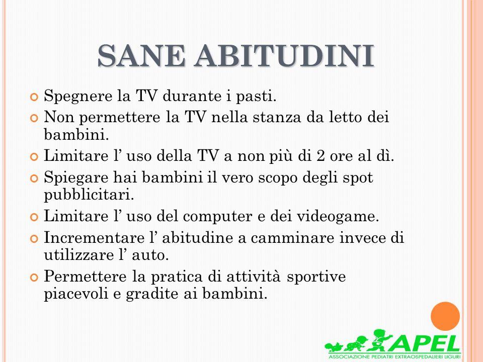 SANE ABITUDINI SANE ABITUDINI Spegnere la TV durante i pasti. Non permettere la TV nella stanza da letto dei bambini. Limitare l uso della TV a non pi