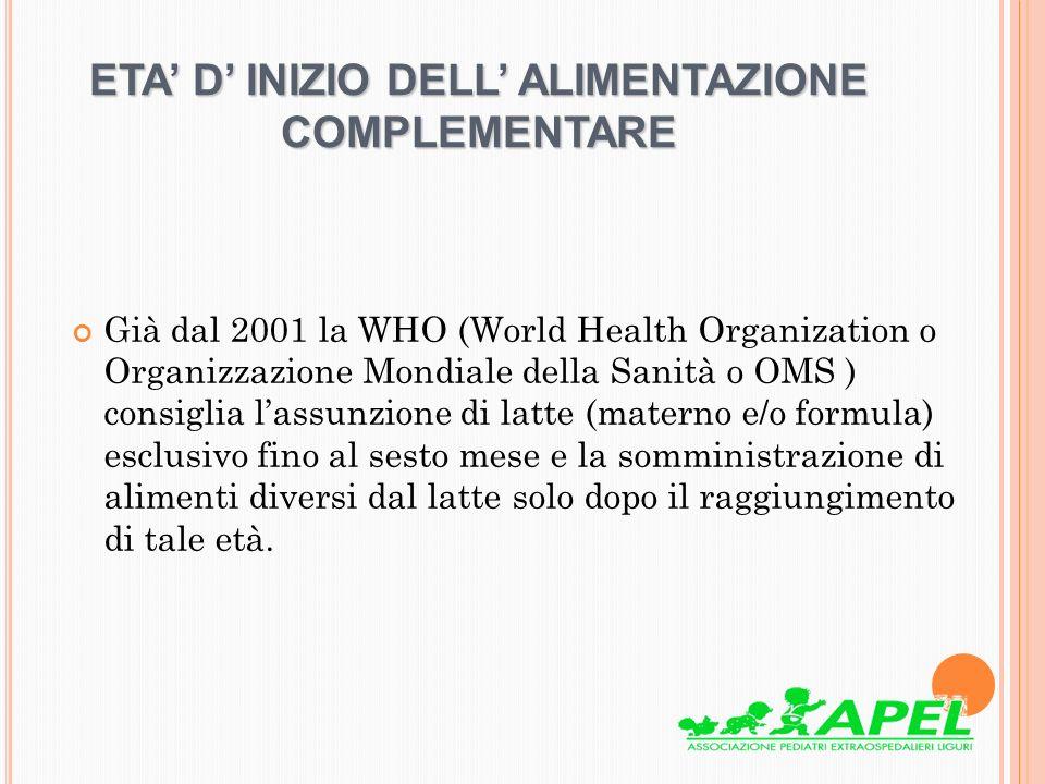 ETA D INIZIO DELL ALIMENTAZIONE COMPLEMENTARE Già dal 2001 la WHO (World Health Organization o Organizzazione Mondiale della Sanità o OMS ) consiglia