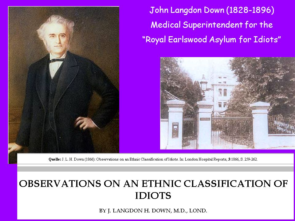 John Langdon Down (1828-1896) Medical Superintendent for the Royal Earlswood Asylum for Idiots