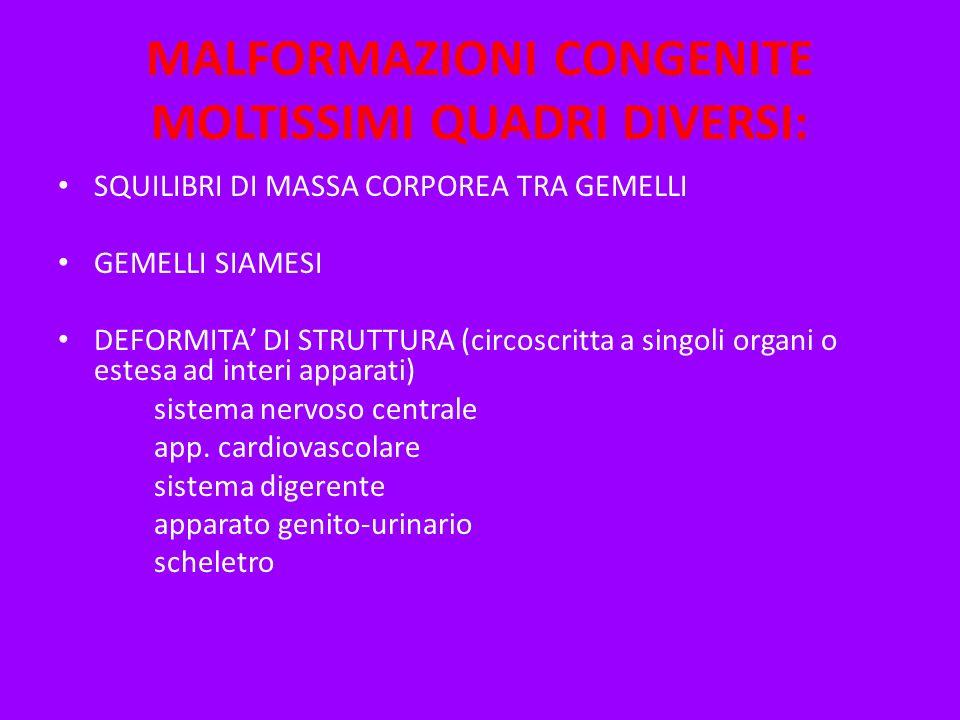 MALFORMAZIONI CONGENITE MOLTISSIMI QUADRI DIVERSI: SQUILIBRI DI MASSA CORPOREA TRA GEMELLI GEMELLI SIAMESI DEFORMITA DI STRUTTURA (circoscritta a sing