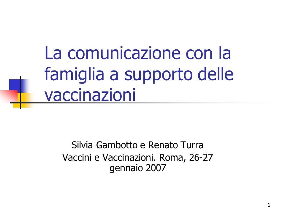 1 La comunicazione con la famiglia a supporto delle vaccinazioni Silvia Gambotto e Renato Turra Vaccini e Vaccinazioni. Roma, 26-27 gennaio 2007