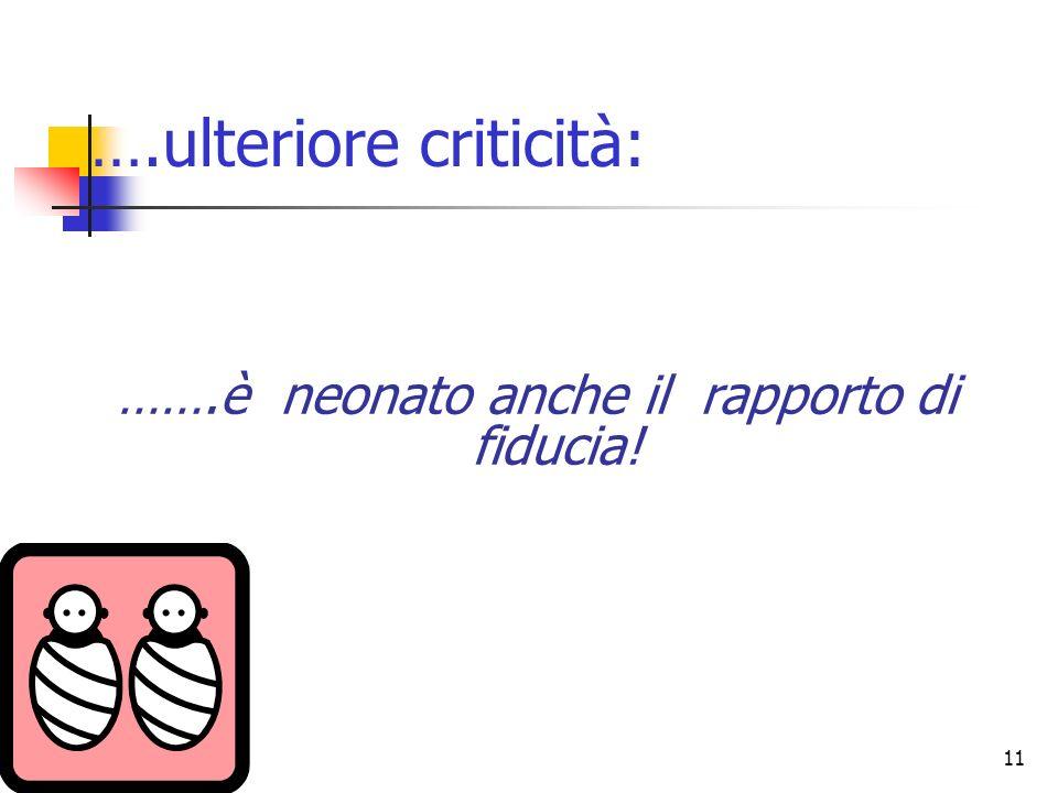 11 ….ulteriore criticità: …….è neonato anche il rapporto di fiducia!