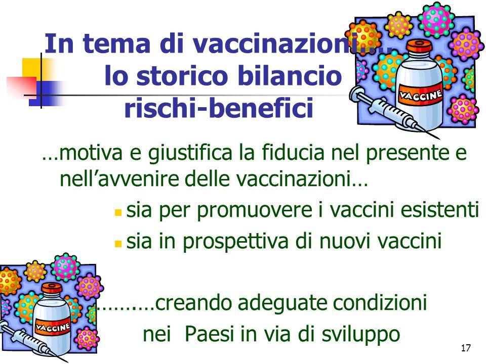 17 …motiva e giustifica la fiducia nel presente e nellavvenire delle vaccinazioni… sia per promuovere i vaccini esistenti sia in prospettiva di nuovi